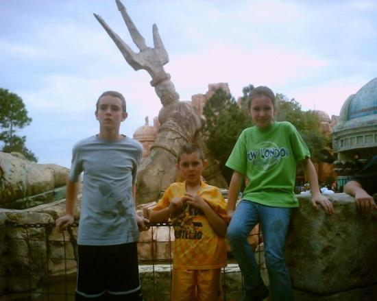 Universal's Islands of Adventure: The kids after fighting the dark magician inside the tomb.