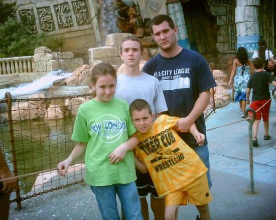 Universal's Islands of Adventure: Jeremy and the kids outside of Poseiden's Tomb. (Islands of Adventure/Universal Studios)