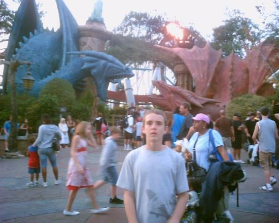 Universal's Islands of Adventure: Dueling Dragons Entrance.  The Red one is FIRE and the Blue one is ICE.  You can choose wich one