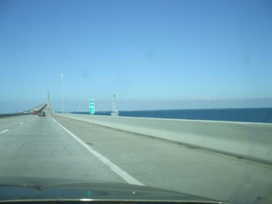 The Sunshine Skyway Bridge, going into Tampa...
