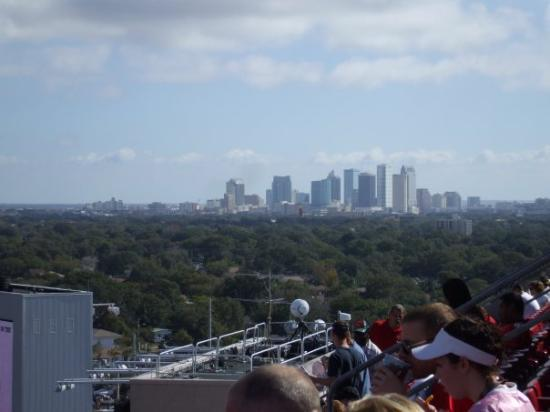 view of downtown Tampa from the Buccs stadium
