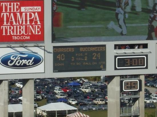 Raymond James Stadium: the final score...they lost but is was SOOO FUNNN!!!