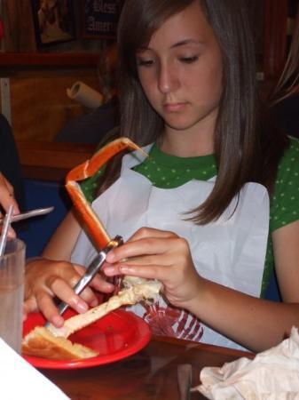 Bubba Gump Shrimp Co.: Autumn crackin' a crab leg