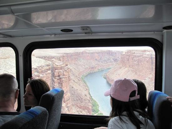 Marble Canyon, Arizona from the rafting bus on the bridge.