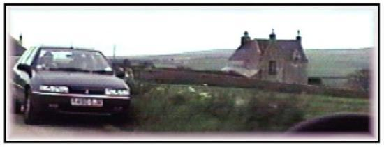 Wick, UK: Squeezing by another car, slate walls everywhere, Thurso or thereabouts.