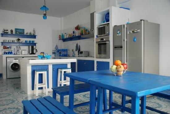 Be My Guest Bed and Breakfast: The Greek-styled kitchen.. think Mamma Mia, think Santorini