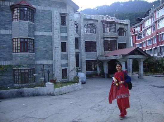 Manali Heights: my wife coming out from hotel
