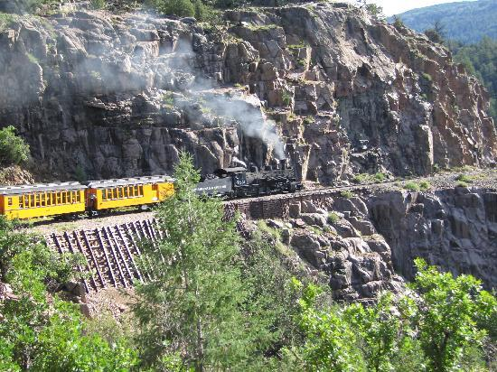 Durango and Silverton Narrow Gauge Railroad and Museum: Going around the corner of the mountain!