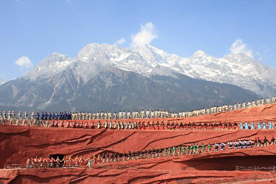 InterContinental Lijiang Ancient Town Resort: Grand Zhang YiMou Show at foot of  Jade Dragon Snow Mountain