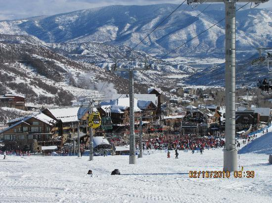 Snowmass Village, CO: Out the door down to the lift view