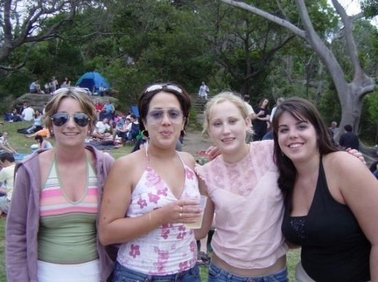 Sydney Harbour Bridge: Kasey, Anna, Wendy, and me at this park in Sydney guarding the space while the boys are screwing