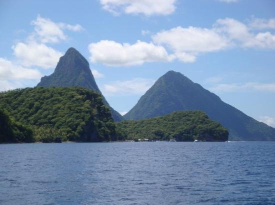 The Pitons - View from catamaran