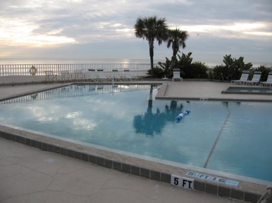 Daytona Beach hotel swimming pool overlooking the Atlantic Ocean!