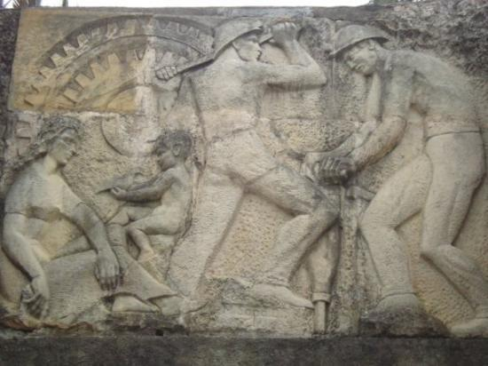 Zipaquira, Colombia: Entrance to the Theme Park with halite bas relief depicting miners