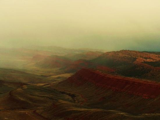 Big Piney, WY: Red Canyon Shrouded in mist.  Taken from south rim facing due North.   September 2009