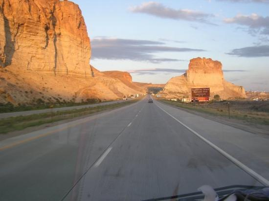 Big Piney, WY: Pilot Buttes near Green River Wyoming  at sunset. Taken from moving vehicle. Notice  Fxguy 1 on