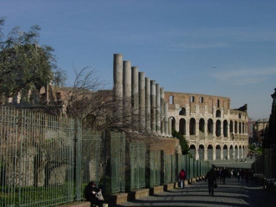 Colosseum: A road connecting the Roman Forum to the Colloseum