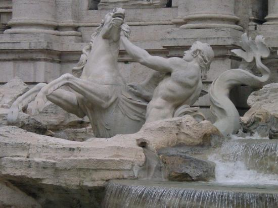 Fontana di Trevi: It is build in Baroque Style at the end of an old Roman time aqueduct