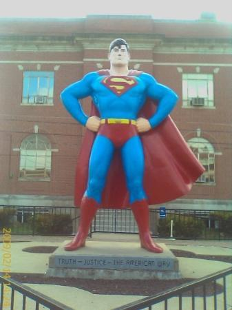 Superman Statue: Metropolis' claim to fame.  Most cities put their war vets or founding fathers, but here???