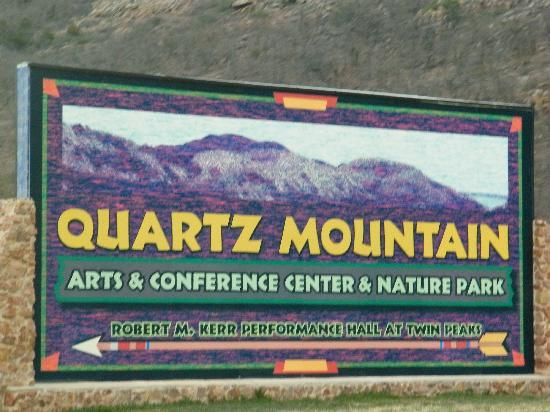 Quartz Mountain Resort Arts & Conference Center: the sign at the entrance