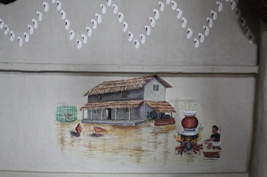 A traditional painting on the walls of the Tiger Tops Tharu Lodge in Chitwan National Park in Ne