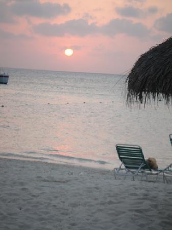 Hyatt Regency Aruba Resort and Casino: Beach in front of Hyatt at sunset