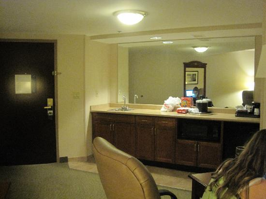 Hampton Inn & Suites Reagan National Airport: looking at the kitchen area in the suite near the door