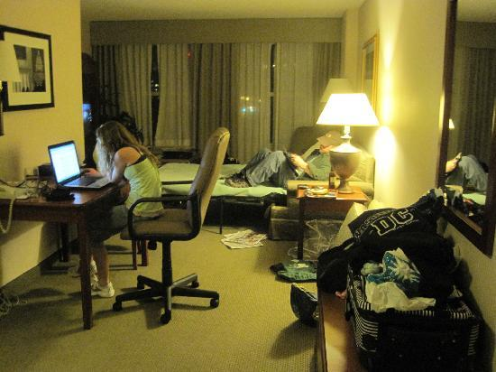 Hampton Inn & Suites Reagan National Airport: looking at the living area of the king suite from the doorway