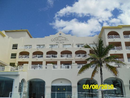 Cozumel Palace: looking up at the Palace from the pool