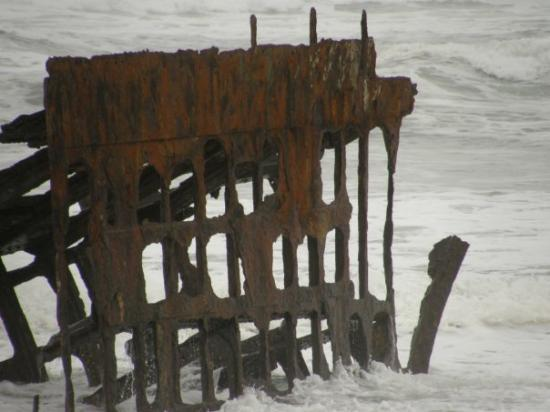 Warrenton, OR: The skeleton of one of the ships, Peter Iredale, that ran aground at the mouth of Columbia River