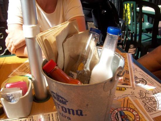 Newport Beach, CA: Corona Salt Shakers at a DELICIOUS restaurant