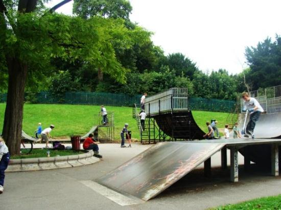 Bath, UK: Skate board ramps at Victoria park