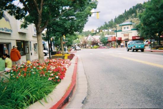 Downtown Estes Park;   flowers were gorgeous...pictures don't do it justice
