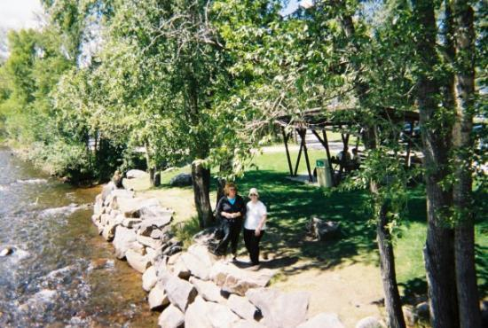 Beautiful picnic park  at Estes Park;   Carl made this picture of Judy and me.