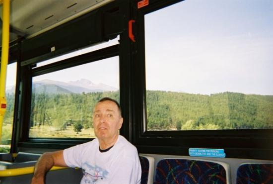 Finally,  on bus to Rocky Mt. Natl. Park,  Estes Park