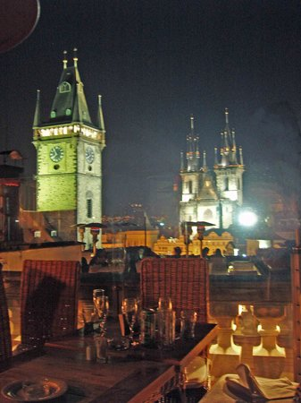 View from rooftop terrace at night picture of terasa u for Terrace u prince prague
