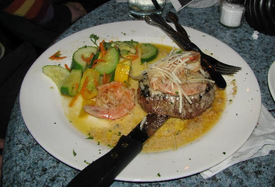 Harry's Seafood Bar and Grille: filet mignon with shrimp