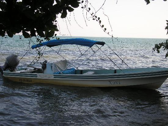 "BlueBelize: Dan's boat ""Xavi"" that he uses for tours"