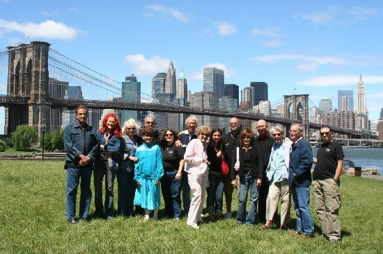 A Slice of Brooklyn Bus Tours: Tour group in Brooklyn Bridge Park in DUMBO