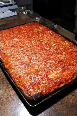A Slice of Brooklyn Bus Tours: L&B Spumoni Gardens Sicilian style pizza