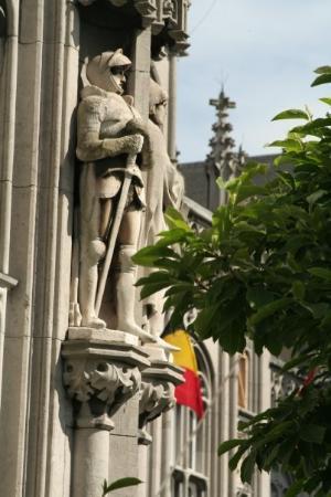 Liège, Belgia: A figure on the Liege City Hall.