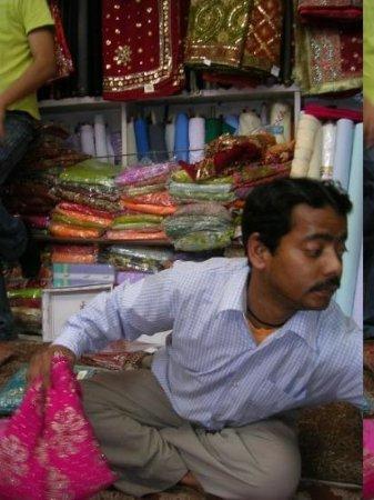 Almora, India: guy we brought saris off