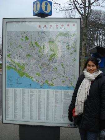 Lausanne, Sveits: Mapa de Laussane, ya llegamos