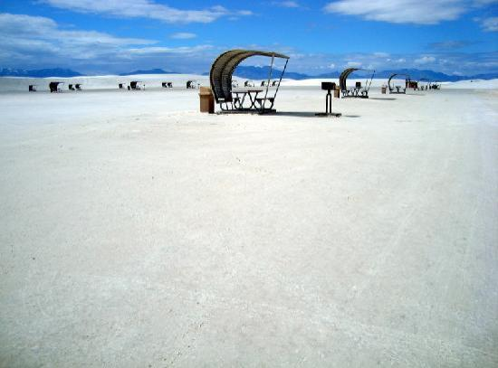 White Sands National Monument: charcoal grills available for picnicking