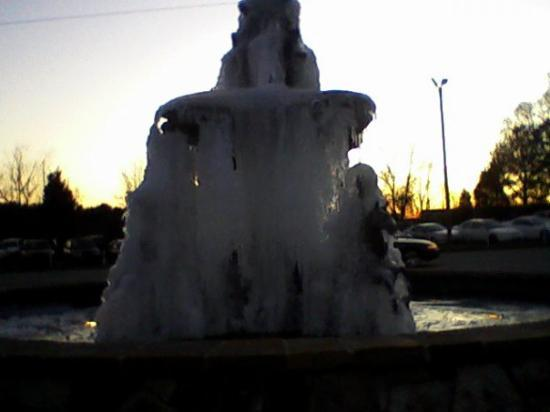 Garner, Kuzey Carolina: This is a fountain around the corner from the house that was frozen when we first got here...