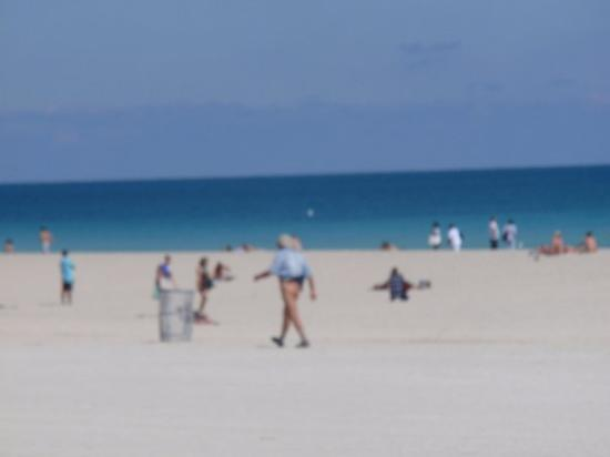 South Miami, FL: A man wearing no pants walk the beach without a care in the world!