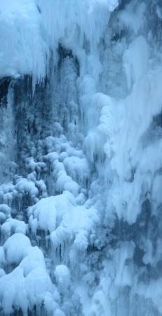 Portland, OR: Close-up of frozen Multnomah Falls.