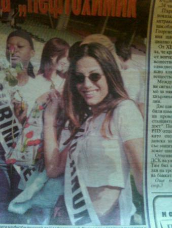 Sofia, Bulgaria: On the cover of a Bulgarian news paper- Miss Dream girl of the world- Sophia Bulgaria 2002