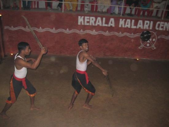 Thekkady, India: Watching 'Kalaripayattu' - one of the worlds first traditional martial arts. Here we have the sw