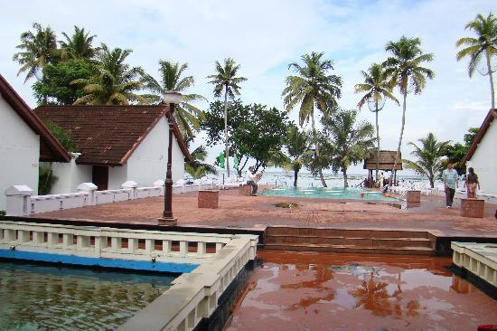 Abad Whispering Palms Lake Resort: The Hotel Entrance, over looking the backwaters, the pool is calling you for a cold dip